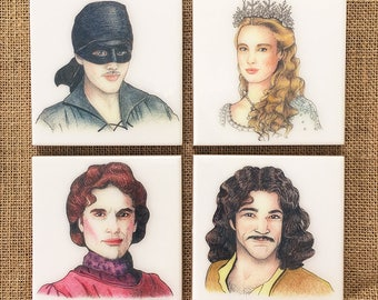 The Princess Bride Hand-Illustrated Ceramic Coasters, set of 4