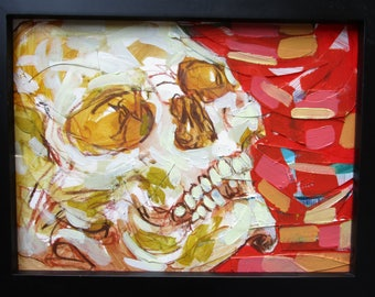 Mixed Media Skull Painting