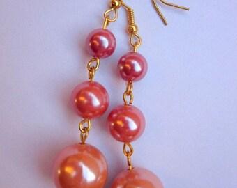 Earrings 3 pearls orange rose