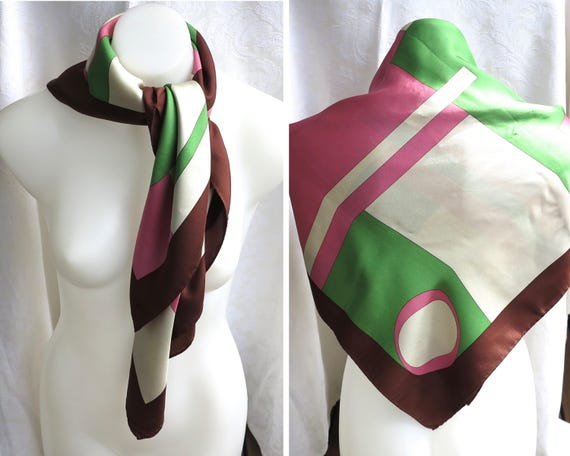 "Large silk Oroton scarf, pink, green, brown, cream, hand rolled and stitched hem, geometric pattern with the Oroton ""O"" symbols"