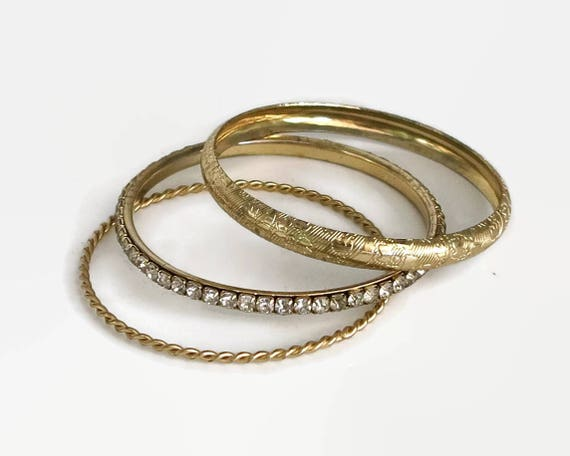 3 different gold plated bangles, rhinestone bangle, thin twisted metal bangle, etched bangle, wear together or singly, 8.2 inches / 20.4 cm