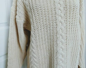 Boho Slouchy Cabled Cotton Sweater - Natural White -M Size -Vintage 80s Cotton Ramie Spring Summer Cottage  Beach Sweater