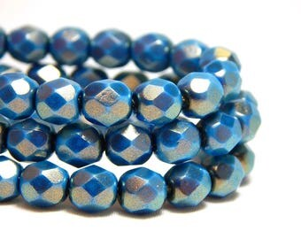 6mm Blue Faceted Beads, Halo Etheral Azurite,  Firepolish Czech Beads, Blue Beads, Blue Silver Beads, Lions Blue Beads, Faceted Beads T-54A