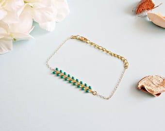 """bracelet size adjustable """"Florine"""" gold plated / Green"""