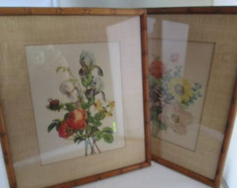 Vintage Floral Picture Pair in Faux Bamboo Frames Flower picture pair of pictures Flower Art Pair framed art floral print flower print