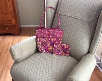 Small burgandy   print one strap purse