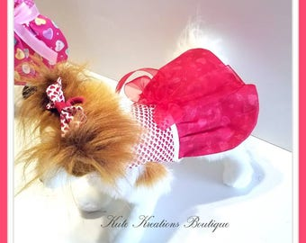 Ready to Go XSmall Only.   Dog dress/Valentine's  Pet Dress/Red Valentine's Dress