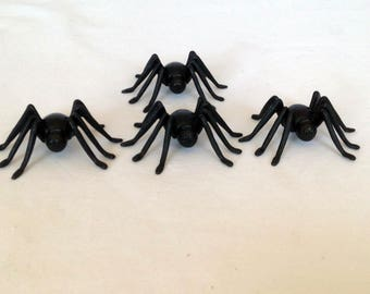 12 Black Spiders Halloween Cupcake Toppers Party Favors