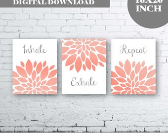 Inhale Exhale Repeat - Gray Coral Art- Gray Coral Flower Art. Gray and Coral Floral Wall Art. Gray Coral Bathroom Decor. Inspirational Quote