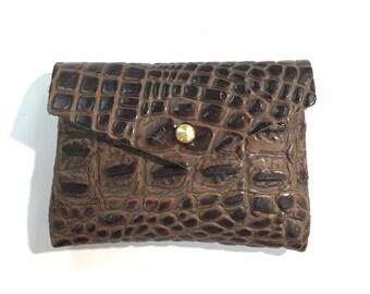 CARD WALLET Chocolate Brown Croc • Embossed Cowhide Business Card Holder • Credit Card Case