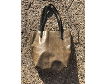 Limited Edition LARGE TOTE Green Crackle • Leather Everyday Bag
