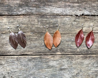 Leather Feather Earrings Brown, Red, Western Chic, Leather Earrings, Genuine Leather Earrings, inspired by Joanna Gaines
