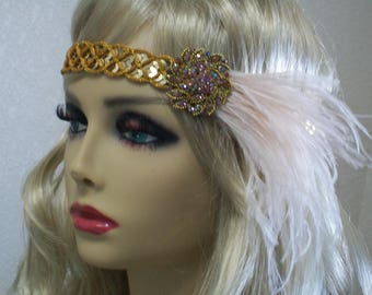 Gold 1920s headpiece, Flapper headband, Flapper headpiece, Great Gatsby,  1920s hair accessory, Roaring 20s, Vintage inspired