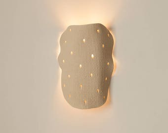 Contemporary clay Wall Sconce, Ceramic light fixture, Natural clay wall lamp
