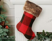 Mens Christmas Stocking, Buffalo Plaid, Plaid Christmas Stocking, Red and Black Stocking, Buffalo Plaid Stocking, Buffalo Check, Wool