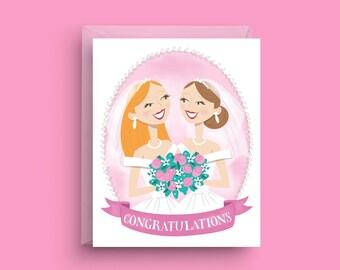 Lesbian Wedding Card, Gay Engagement Card, Gay Wedding Gift, Newly Wedded Couple, Card for Gay Wedding, Card for Bride, Gay Wedding Shower