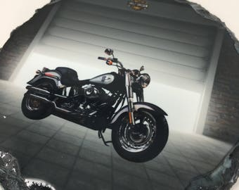 Custom Slate Harley Davidson Motorcycle Coasters Set Groomsmen Gift
