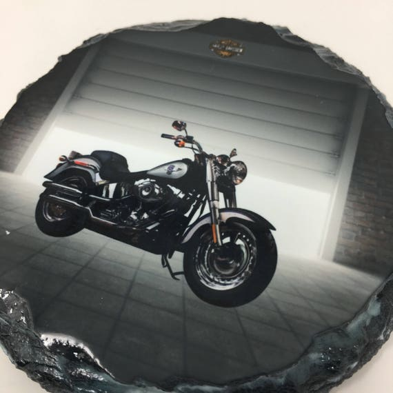 Custom Slate Harley Davidson Motorcycle Coasters Set, Groomsmen gift, Harley Motorcycle Coasters, Motorcycle coasters, Wedding Favor