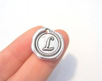 "50% OFF Clearance Sale-- Antique Silver Alphabet Letter ""L"" Charm Pendants 18x18mm Jewelry Supplies"