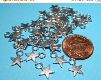 50% OFF Clearance Sale-- Antique Silver Star Charms Pendants 8x11mm