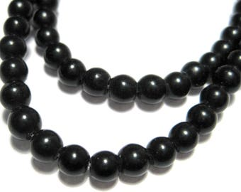 1 Strand Black Natural White Jade Dyed Stone Beads 4mm Round
