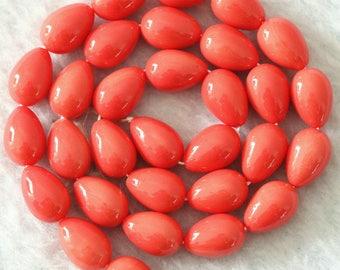 LOT 30 glass drops Salmon (13x9mm)