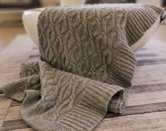 cable knit blanket etsy. Black Bedroom Furniture Sets. Home Design Ideas