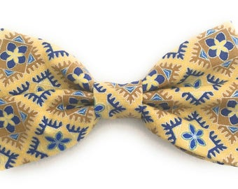 Men's Yellow Bow Tie with Blue Floral Accents
