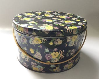 Vintage Sewing Tin with Cord Handle/Litho Printed Tin/Pansy Bouquets on Black Background/Kresge's