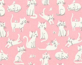 Fabric - Robert Kaufman - Whiskers and tails pink cat cotton print - woven cotton