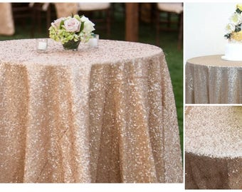 champagne sequin wedding tablecloth 72 inch round polyester sequin cloth shiny sequin quality tablecloth for