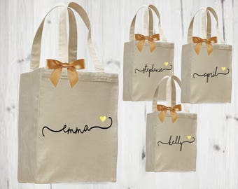 set of 5 bridesmaid totes, bridesmaid gift, personalized tote, canvas tote, bridesmaid bag,
