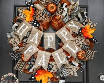 Happy Fall Wreath, Autumn Wreath, Halloween and Fall Wreath, Burnt Orange Deco Mesh Wreath, Orange and Black Fall Wreath
