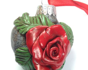 Red roses Christmas tree ornament, Rose ornament, holiday decor, christmas decoration