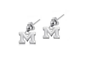 Michigan Sterling Silver Post Dangle Earrings, Wolverines Silver Jewelry, UMI-6169