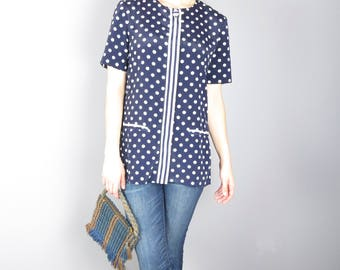 Vintage 80s Leslie Fay Petite Navy / White Polka Dotted Button Up Blouse US8