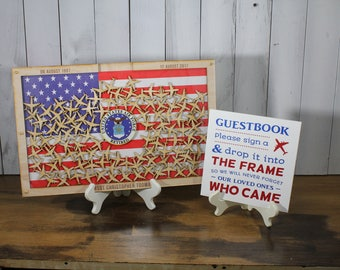 Personalized Guest Book/Flag/Air Force/Navy/Patriotic/Large/Military/Retirement/Guest Book/Wood Shape/Alternative/Stars/Free Shipping USA