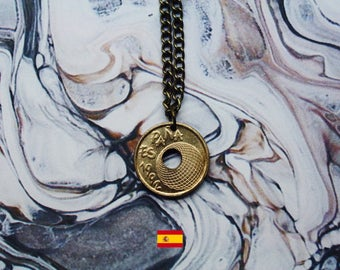 Spanish 25 Pesetas Handmade Gold Coin Necklace - Antique Gold Iron Chain.