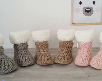 Chaussons bébé laine / explications chaussons naissance à 6 mois / tutoriel chaussons