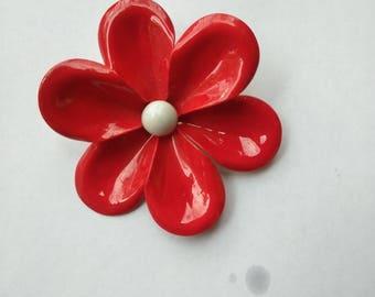 1960's Bright Red Brass Flower Brooch