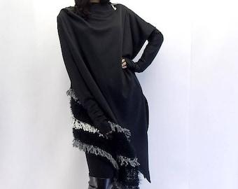 SALE 15% OFF Black Asymmetrical Cardigan / Asymmetric Jacket Carrdigan / Black Jacket Cardigan / Women Cardigan TC07