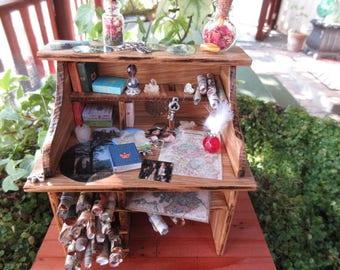 Miniature OOAK Old World Mapmaker's Desk Outlander theme mini garden maps books amber dragonfly