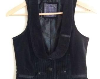 Vintage Women's Black Striped Velvet Vest Size Small