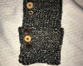 Hand Knitted Boot Cuffs Toppers black and white