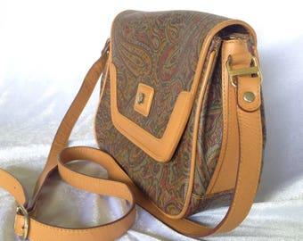 Vintage Piato Italy Waterproof  Leather Crossbody Bag , Amoeba Printing with Light Brown Trim