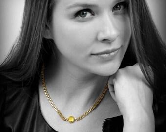 SUMMER SALE -  Citrine necklace,citrine bezel pendant,November birthstone necklace,gold necklace,thick chain necklace,gemstone