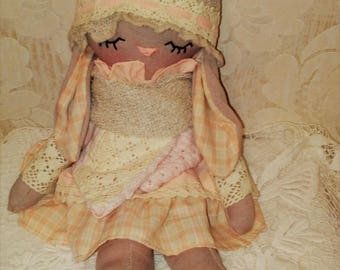 textile doll - textile bunny - easter- bunny - rag doll -toys