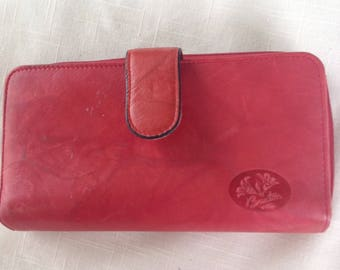 Vintage Buxton French Red Leather wallet with checkbook section