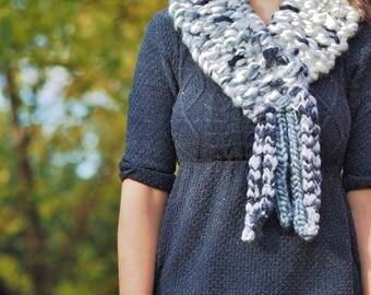 Chunky knit grey scarf, Fringed cream scarf, Grey scarf, Cream scarf, Grey neckwarmer, Cream neckwarmer, Grey cowl, Cream cowl 607