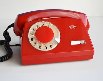 Red Retro Telephone, Fully Working Soviet Vintage Rotary Phone, 80s Electronics, Vintage Office Decor, Oldschool Electronics, Gift For Her